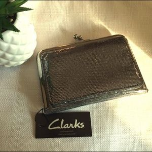 NWT Clarks Sparkly Pewter Clutch / Wallet